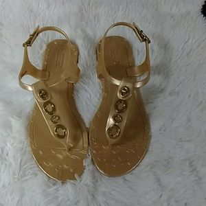 "Coach gold ""Phila"" plastic logo sandals 8"